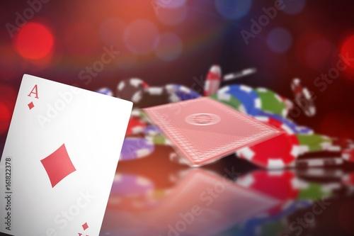 Composite 3d image of ace of diamonds card плакат
