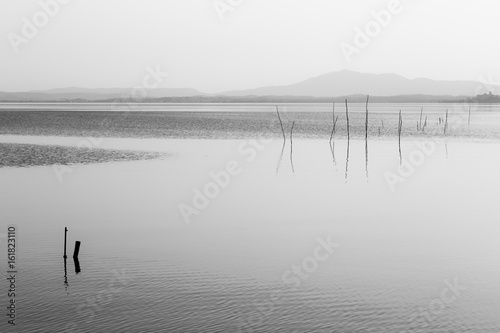 Mininalist view of a lake, with some wooden poles in the foreground - 161823110