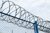 Protection fence with sharp barbed wire in outdoor with blue sky background. Independence or freedom picture concept. - 161823386