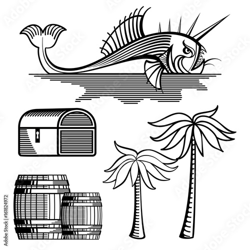 Fish, treasure chest, barrels and palm tree - 161824972