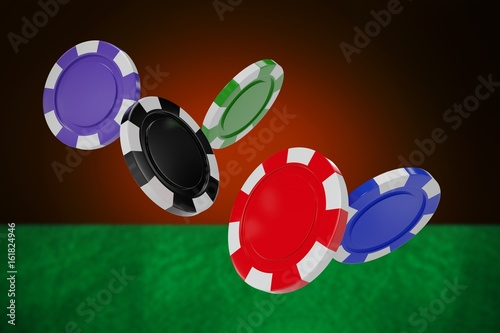 Composite image of illustration of 3d gambling chips плакат