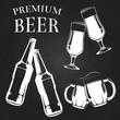 Beer glasses, bottles and mugs on chalkboard