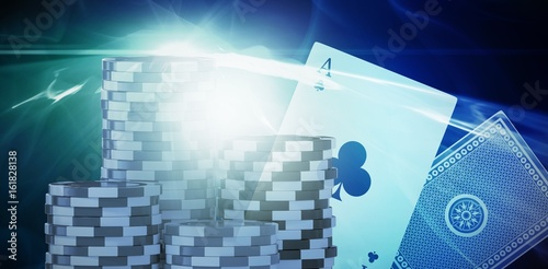 Composite image of vector 3d image of gambling chips плакат