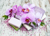 Handmade soap and purple orchids