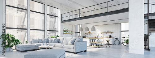modern loft apartment. 3D rendering - 161828930