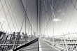 B&W Brooklyn Bridge, NYC photograph. NY landmark.