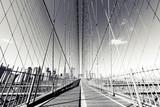 B&W Brooklyn Bridge, NYC photograph. NY landmark. - 161832353