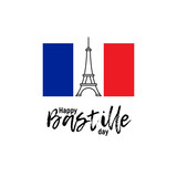 Happy Bastille day, 14th July. French national holiday, vector design element suitable for banner or poster. Linear abstract illustration of the Eiffel Tower with National flag of France