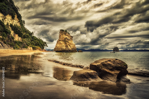 Foto Spatwand Cathedral Cove Sphinx Rock, Cathedral Cove, New Zealand