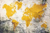 Yellow world map on damaged cracked concrete wall. Elements of this image furnished by NASA.
