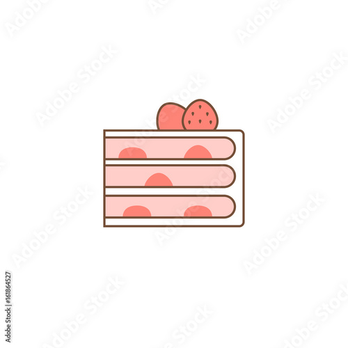strawberry layer cake with filling, outline icon