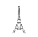 Eiffel Tower in Paris, France. Eiffel tower isolated icon. Vector stock.