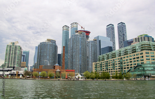 Cityscape along the harbor waterfront district in Toronto Ontario Canada