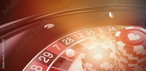 Composite image of vector image of 3d gambling chips плакат