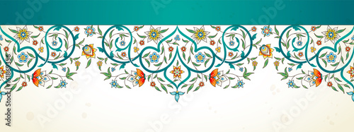 Arabesque seamless border in Eastern style.