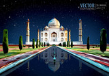 Fototapety The Taj Mahal. White marble mausoleum on the south bank of the Yamuna river in the Indian city of Agra, Uttar Pradesh. Starry sky. Vector illustration.