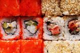 Japanese cuisine - Rolls closeup.