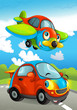 Cartoon sports car smiling and looking on the road and plane flying over - illustration for children