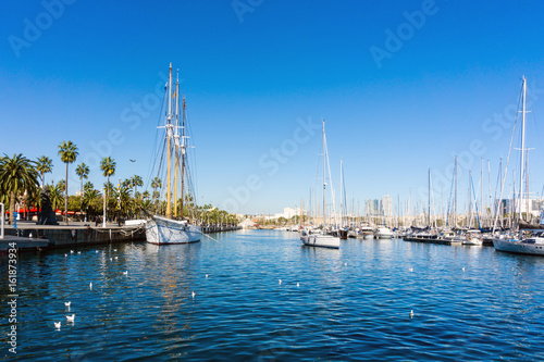 Street view of Barcelona harbor with boats, Spain Europe