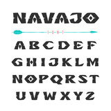Navajo. Font in the style of ornaments of Indian tribes - 161874385