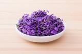 lavender blossoms / Porcelain bowl with lavender blossoms - 161874924