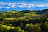 View of the vineyards and hills of Langa Piedmont Italy, at the bottom the mountains with clouds on the tops