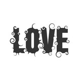Vector lettering illustration with love word. Typography poster with abstract ornament of curls.