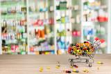 counter store table pharmacy background shelf blurred blur focus drug medical shop drugstore medication background
