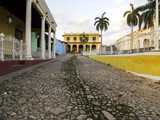 Typical colored colonial house on the streets of Trinidad - Declared national monument in 1950 and UNESCO heritage in 1989, Trinidad is one of Cuba's main tourist attractions - Trinidad, Cuba