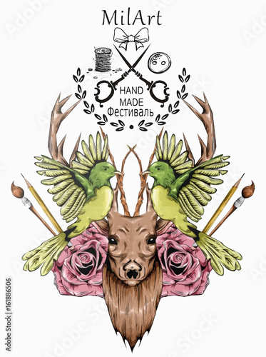 Wonderful Animal Deer Hand Made Watercolor in Vector illustration