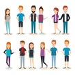 Set of young people over white background vector illustration - 161888350