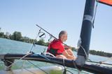 main sailing in a lake