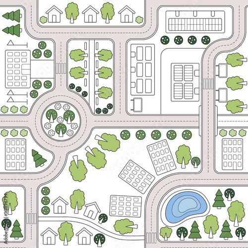 Abstract seamless vector background, pattern, wallpaper, backdrop with houses, roads, trees. Urbanistic landscape plan. City, town map. Template for web design, printing on fabric, textiles, clothing - 161896794