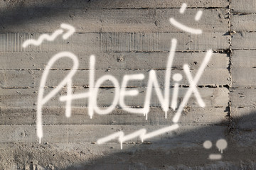 Phoenix Word Graffiti Painted on Wall