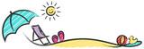 Sommer Urlaub mit Strand und Meer Zeichnung - 161898734