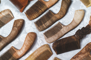 classic wooden hair brushes for hair at the table