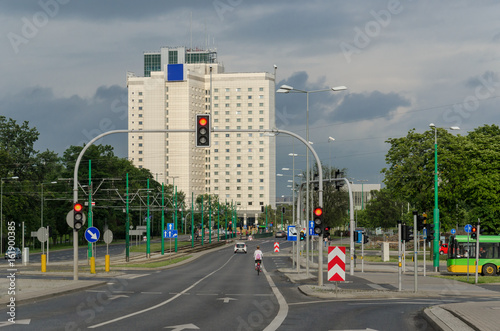 BIG CITY - Tall building and wide avenue of Poznan