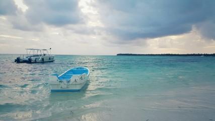 Speed boat and catamaran in carribean sea near Saona island
