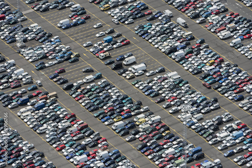 Keuken foto achterwand Antwerpen Aerial image of cars for importation exportation at Antwerp Euro Terminal