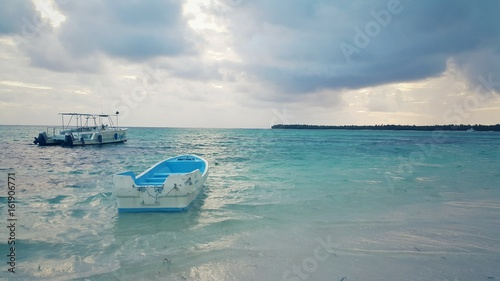 Speed boat and catamaran in carribean sea near Saona island