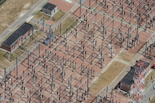 aerial picture of Engie Electrabel installations near the Scaldis training center at the Port of Antwerp