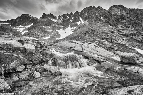 Black and white picture of a stream in High Tatra Mountains, Slovakia Poster