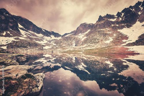 Fototapeta Color toned picture of a lake in High Tatra Mountains, Slovakia.