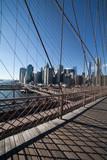 Downtown Manhattan viewed through Brooklyn Bridge suspension cables