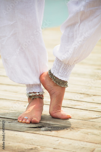 Poster barefoot woman legs  boho summer fashion