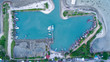 Aerial view of fisherman village marina on the tropical island