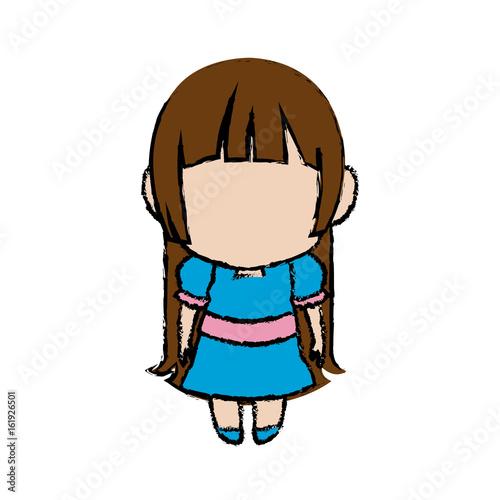 cute anime chibi little girl cartoon style vector illustration - 161926501