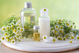 Body care cosmetic products with camomile and camomile flowers