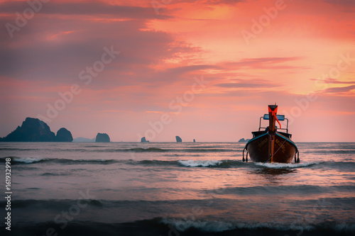 Longtail boat in Krabi Thailand on a sunset Poster