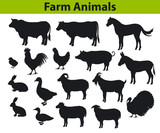 farm animals silhouettes set with cow, horse, bull, sheep, goat, donkey, duck, turkey, rabbit, hen, chicken